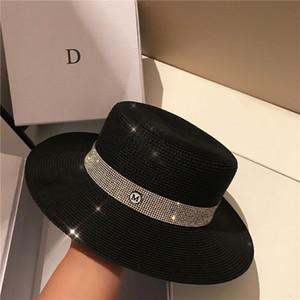 Yaz Parlayan Kristal Şapka Moda Siyah Şık Harf Hat Kadınlar Plajı deniz Şapka Güneş kremi Casual Cap Popüler Resort Cap