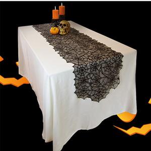 Partido Tampa Decoração quente Halloween Black Lace Teia de aranha Toalha Lareira Scarf criativa Tabela Runner Tabela ClothsT2I5452
