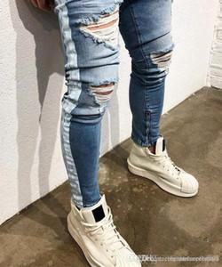 Blue Jeans Ripped Trous Distressed Rue Kanye West Crayon Jean Pantalons Hommes Rayé Lumière