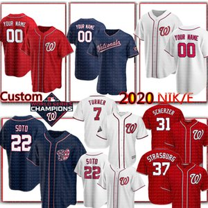 2020 NKE 22 Juan Soto Jersey Custom 31 Max Scherzer'in 7 Trea Turner Jersey Anthony Rendon Stephen Strasburg Adam Eaton Howie Kendrick Beyzbol