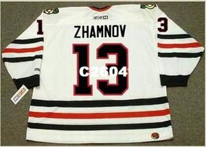 Mens # 13 ALEX ZHAMNOV Chicago Blackhawks 2002 CCM Retro Home Hockey Jersey o personalizzata qualsiasi nome o numero retro Jersey