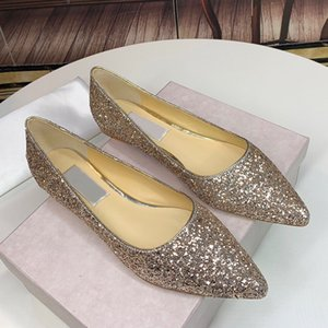 New sequins pointed flat shoes lady designer party dress shoes high-quality flat-heeled female princess luxury wedding shoes qwx