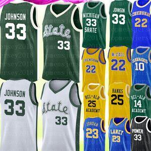 Michigan University Earvin 33 Johnson Jersey Lew Alcindor 34 Gesù Shuttlesworth maglie Bel-Air Academy 14 Smith 25 Banche di pallacanestro