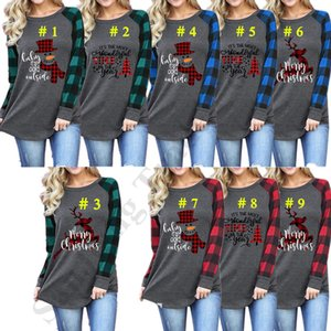 Christmas Women's Santa Blouse Tops casual O-Neck Long Sleeve Elk Snowman Print T-shirt Tee Patchwork Plaid Sleeves Sweatshirt S-5xlC112702