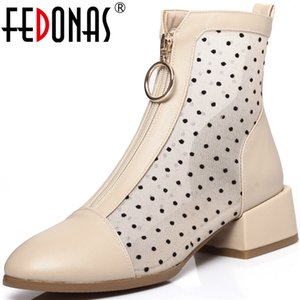 FEDONAS Zipper Metal Decoration Ladies Summer Boots Popular Patchwork Thick Heels Pumps Women Autumn Wedding Party Shoes Woman