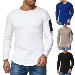 Männer neuer Herbst-Winter-Baumwoll-T-Shirts Pullunder Männer Langarm-Tasche O Ansatz Tees Slim Fit Mann beiläufiges Normal Muskel-T-Shirt