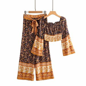 Women's two piece pants sets african top and wide legs pants suit rayon fabric viscose ethnic fashion summer vacation women's clothing set