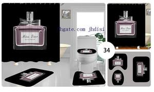 Baño sitio de resto Cortina Bowknot botella de perfume de lujo de impresión Negro Cortina D letra de la manera Baño Aseo sistemas de la cubierta