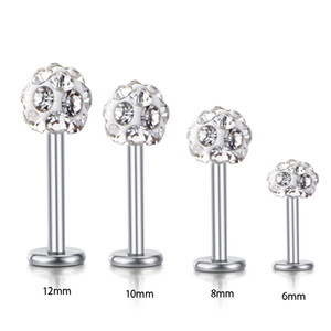 Atacado Corpo Jóias Labret Anéis de aço inoxidável shaballa cristal Disco Ball Lip piercing jóias 30pcs 16G Lip Anel