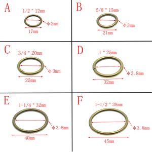 50pcs / lot en laiton antique O anneaux métalliques non soudés nickelé Colliers ronde boucles de ceinture Boucle Paquet-38mm 12mm Accessorie
