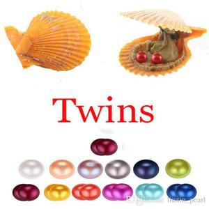 2020 Akoya shell Red Oyster pérola 6-7mm Twins Pérola em ostras Akoya Oyster Shell com Colouful Pearls Jóias Por Embalado a Vácuo Atacado
