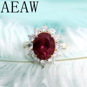 Aeaw Genuine Woman Verlobungsringe 8x10mm Lab Rubin Mit Moissanite Schmuck Solide 14 Karat Gelbgold Ring Klassische Dame Schmuck Y19052301