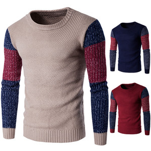 Pullover Men Winter Warm Sweaters Patchwork Ribbed Sleeve Personalize Design Thick Slim Knitwear For Men Casual Men Sweater coats