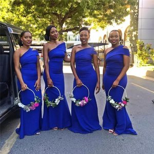 Elegant Royal Blue Mermaid Bridesmaid Dresses One Shoulder Country Wedding Guest Party Gowns Customized Zipper Back