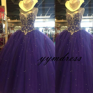 purple Ball Gown Tulle Quinceanera Dresses 2019 Strapless Crystal Beaded A Line Floor Length Corset Back Sweet 16 Prom Gowns