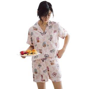 Nuevo temperamento gama alta de ocio elegantes pantalones de pijama de manga corta-dulce de seda del hielo de Corea del Estudiante verano pijamas de dos piezas Tracksuit1