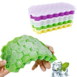 Mold 2pcs Honeycomb Silicone Ice Mold Ice Cube Fruit picolé creme partido do vinho Máquina de Cozinha Bolo gomoso com tampa Z411