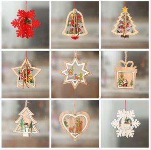 3D Noël Ornement Hanging en bois Pendentifs Étoile de Noël Arbre de Noël de Bell Décorations pour la maison New Year Party 9 Navidad style