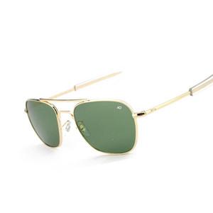 Samjune 패션 항공 선글라스 남성 브랜드 디자이너 AO 태양 안경의 경우 남성 미국 육군 광학 유리 렌즈 Oculos