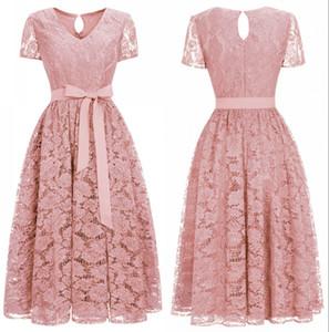 New Cheap Designer Burgundy Lace Party Retrouvailles robes à manches courtes col en V Sash thé longueur Womens formelle Tenue de soirée CPS1153