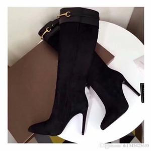 fibbie di disegno delle donne della pelle scamosciata delle amanti della moda stivali alti neri scarpe col vestito di nozze stivali autunno del partito delle signore caricamenti del sistema lunghi scarpe a punta a punta