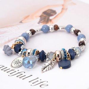 -Pulsera al por mayor de joyería de diseño de lujo de las mujeres pulseras cuentas de piedras naturales encanto seriales mar Pulsera heló hacia fuera la pulsera NE983-3