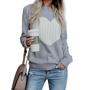 여성 심장 스웨터 6 색 긴 소매 니트 점퍼 풀오버 발렌타인 데이 사랑 모양의 인쇄 여자 스웨터 LJJO7582-17