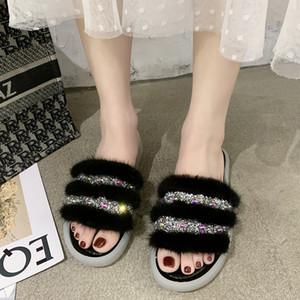 Rimocy Женщины Bling Кристалл Open Toe Fur Слайды Летняя мода Flat Главная Тапочки Женщина Удобный Повседневный Furry сандалии Женский