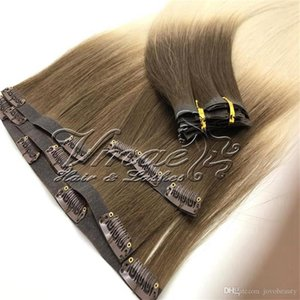 Brazilian PU Wefts Seamless Clip In Hair 120g blonde Omber Straight Cuticle Aligned Remy Virgin Human Natural Color Brown Hair Extensions