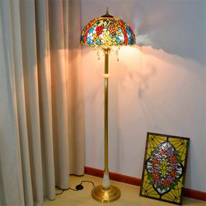 북유럽 골동품 스테인드 글라스 포도 장식 옥 플로어 램프 호텔 홀 클럽 순수 구리 티파니 플로어 램프 TF079 램프
