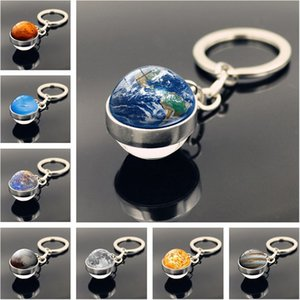 Solar System Planet Keyring Galaxy Nebula Space Keychain Moon Earth Sun Mars Art Picture Double Side Glass Ball Car Key Chain