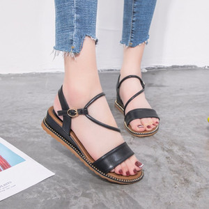 Mini2019 с наклонной женщиной Xia Baida Fairy Wind Shoes Рим одним словом принесите сандалии с плоским дном Другая одежда