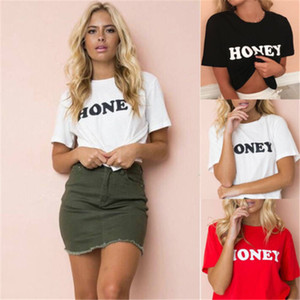 2018 New Fashion Women Casual Honey Letter Print Short sleeve Loose Tee Tops Hipster tumblr Blouse Elegant vogue blusa feminina