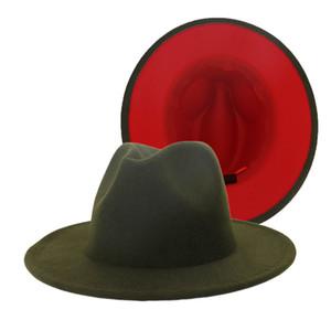 Novo Exército Outer interna verde Red retalhos de lã Mistura Vintage Homens Mulheres Fedora Chapéus Trilby Floppy Jazz Belt Buckle Felt Chapéu de Sol