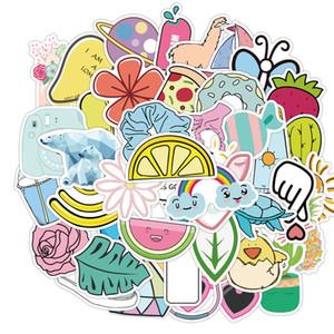 50pcs / Set Ins Стиль Желтый Розовый Синий Симпатичные Малый свежий Кубок стикер компьютера скейтборд Водонепроницаемый наклейки украшения аксессуары