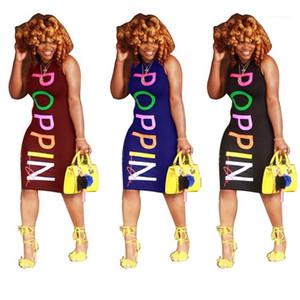 Renkli Baskılı Elbiseler Tasarımcı Seksi Kulübü Moda Kolsuz Elbise Kadın Giyim POPPIN Kadınlar Yaz Elbiseler Skinny