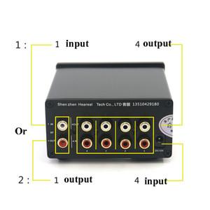 Freeshipping 4 Input 1 Output / Input 1 4 Выход Двусторонний аудио сигнала Switcher переключатель Splitter Selector с RCA AC100V-240V l1-002