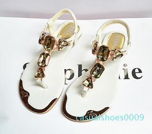 Summer womens sandals rhinestones rear wristbands with toe herringbone low to help flat shoes metalhead Flat shoes c09