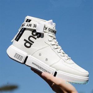 Zapatos de la PU ocasional de las zapatillas de deporte del patín de Corea ulzzang Off Ocio resistente calzado antideslizante Hombres Zapatos de cuero de imitación de mesa Moda patinador A19bn56