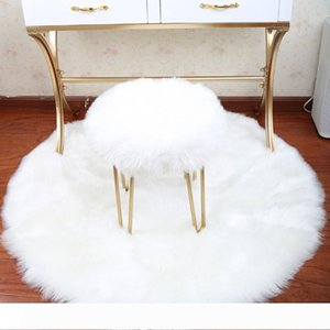 Soft Round carpet Artificial Sheepskin Rug Chair Cover Bedroom Mat Artificial Wool Warm Hairy Carpet Seat Textil Fur Area Rugs wedding decor