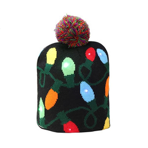 New Knitted LED Light Cap Christmas Tree Snowman Adult Child Hat