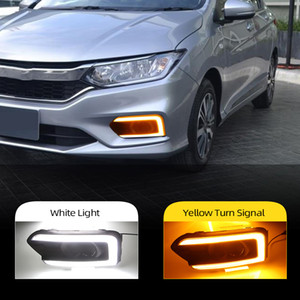 Işık için Honda City Sarı dönüş sinyali ile 2017 2018 2019 Sis Işık Kapak Running 2pcs Otomobil için LED DRL Gündüz
