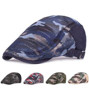 Hommes Femmes de couleur camouflage Duckbill Beret Cap creux Mesh respirant été réglable Cabbie Newsboy chasse conduite chapeau plat