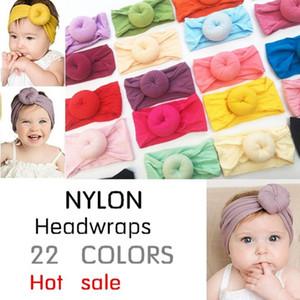 18 Renkler Bebek Kız Candy Renk Yuvarlak Knot Naylon Bantlar Çocuk Amerikan Tarzı Parti Saç Aksesuarları Bebek Katı Yumuşak Turban