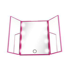 Nova venda Quente 8 LEDs Light Maquiagem Espelho Da Tela de Toque compõem 3 Dobrável Portátil Ajustável Bancada de Mesa Make Up Espelho