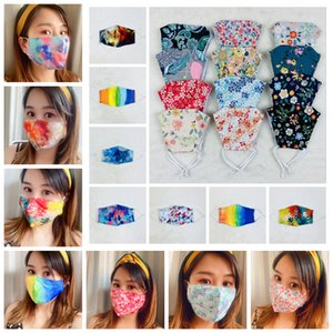 Printed mask rainbow floral mouth cover outdoor protective facial mask dustproof adult gradient colorful earloop masks FFA4227
