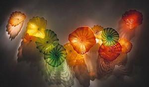 Lámpara de placa de murano hecho a medida Artes soplado a mano Flor decorativa Placas de vidrio Lámparas de pared