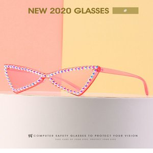 2020 Frameless diamante óculos de sol moda Crystal diamond Ne rua tiro óculos comentários Acryl Sunglasses compras online e comentários
