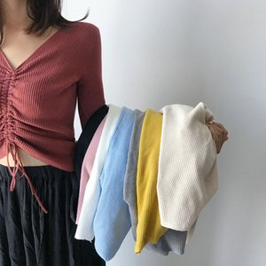 AOSSVIAO Top de punto con cordones sexy Suéter de otoño e invierno de moda para mujer Chic rosa con cuello en V de punto delgado jumper pull femme