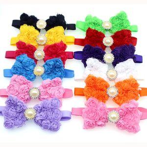 Hot! Pet Lazo Cravate en mousseline de soie rose diamant ruban Pet Bowties collier de chien cou Accessoires Toilettage Boutique